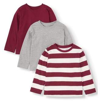 Solid & Striped Garanimals Long Sleeve T Shirts, 3pc Multi-Pack (Toddler Boys)