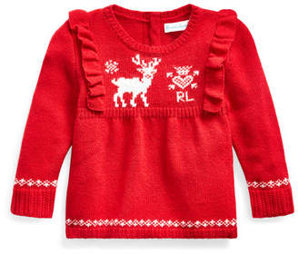 Ralph Lauren Childrenswear Girl's Reindeer Intarsia Ruffle Trim Sweater, Size 6-24 Months