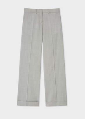 Paul Smith Women's Light Grey Marl Wool-Stretch Wide Leg Trousers