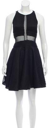 Zac Posen Flared Fishnet Accented Dress