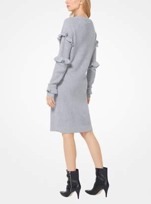 MICHAEL Michael Kors Ruffled Ribbed Sweater Dress