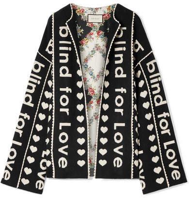 Gucci - Oversized Wool And Cashmere-blend Jacquard Jacket - Black