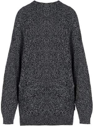 Balenciaga Oversized Wool Blend Crew Neck Sweater - Mens - Black White