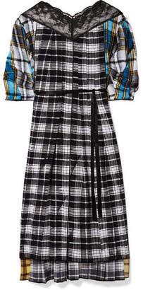 Marc Jacobs Lace-paneled Plaid Silk-voile Midi Dress