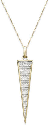 Wrapped Diamond Triangle Pendant Necklace in 10k Gold (1/6 ct. t.w.)
