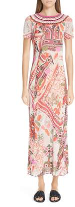 Fuzzi Knit Trim Print Tulle Maxi Dress