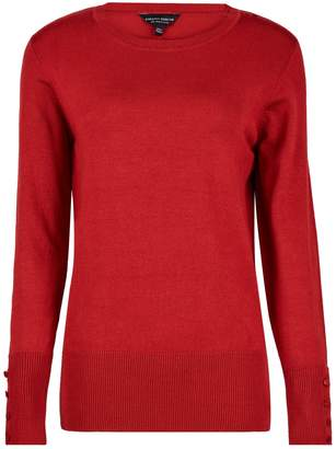 Dorothy Perkins Womens Rust Red Button Cuff Jumper