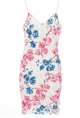 Quiz Blue And Pink Floral Crochet Bodycon Dress