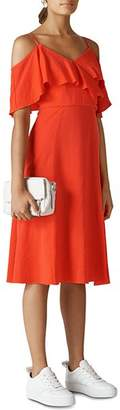 Whistles Ruffled Cold-Shoulder Dress
