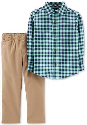 Carter's Baby Boys 2-Pc. Cotton Plaid Shirt & Pants Set