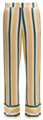 Asceno - Striped Sandwashed Silk Pyjama Trousers - Womens - Yellow Stripe