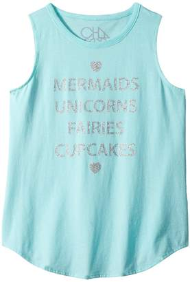 Chaser Kids Vintage Jersey Mermaids Unicorns Tank Top Girl's Sleeveless