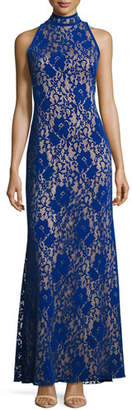 Tadashi Shoji Sleeveless Velvet Floral Lace Gown, Blue