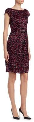 Emporio Armani Abstract Print Belted Dress