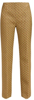 Prada High Rise Geometric Brocade Trousers - Womens - Green Multi