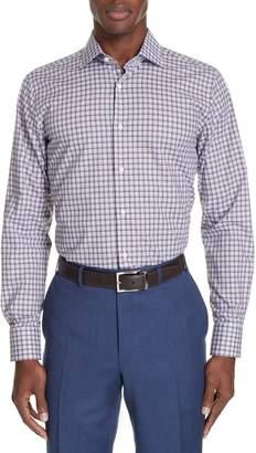 Canali Trim Fit Plaid Dress Shirt
