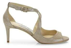 Jimmy Choo Emily Shimmery Leather Crisscross Sandals
