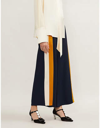 Peter Pilotto Side-stripe high-rise wide-leg crepe trousers