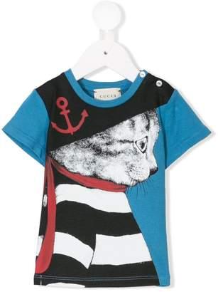 Gucci Kids sailor cat print T-shirt
