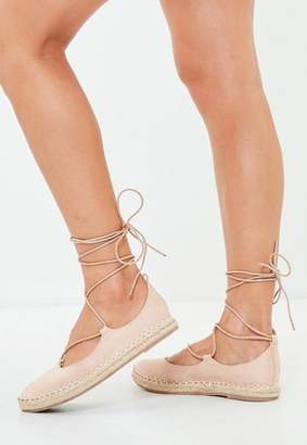 Missguided Nude Lace Up Espadrille Flatform