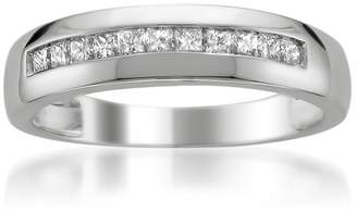 Men's 14k Gold Princess-Cut Diamond Wedding Band (1/2cttw