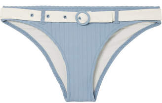 Solid & Striped The Rachel Belted Ribbed Stretch-knit Bikini Briefs - Light blue
