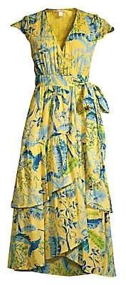 Banjanan Women's Lisbon Garden Sunshine Wrap Midi Dress