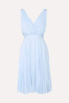 Prada Plissé Crepe De Chine Dress - Sky blue