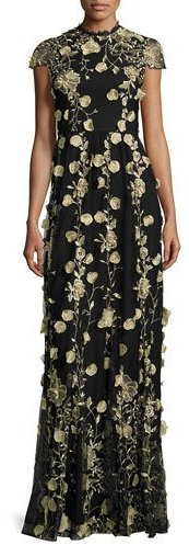 Alice + Olivia Alice + Olivia Cap-Sleeve Floral Embroidered Gown, Black/Gold