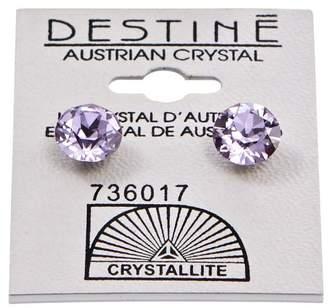 Crystallite Destine Violet Diamond Cut Earrings 8mm