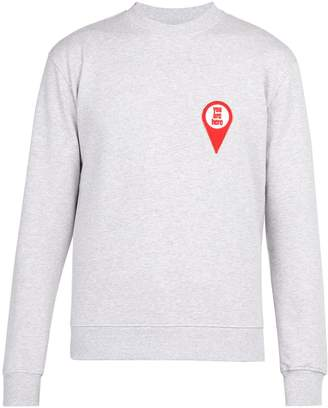 Ami 'You are here'-appliquéd cotton sweatshirt