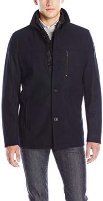 Kenneth Cole New York Men's Wool Blend Car Coat With Polyblend Bib