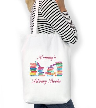 "LIBRARY Monogram Online Mommy's Books Custom Cotton Tote Bag, Sizes 11"" x 14"" and 14.5"" x 18"""