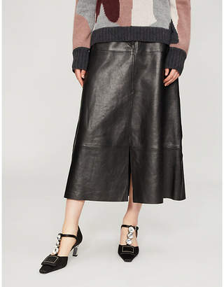 Sandro A-line leather skirt