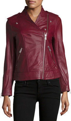 Zadig & Voltaire Leather Asymmetric Zip Jacket, Prune $499 thestylecure.com