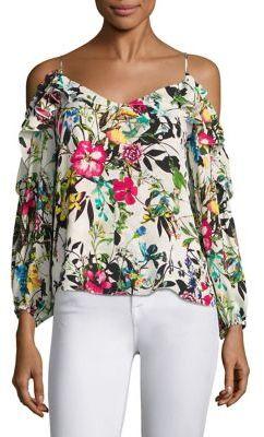 Parker Clark Floral-Printed Silk Cold Shoulder Blouse $220 thestylecure.com
