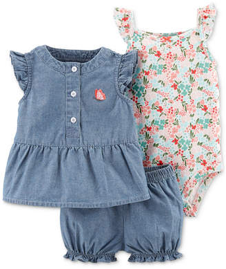 Carter's Carter Baby Girls 3-Pc. Floral-Print Cotton Bodysuit, Chambray Top & Bloomers Set