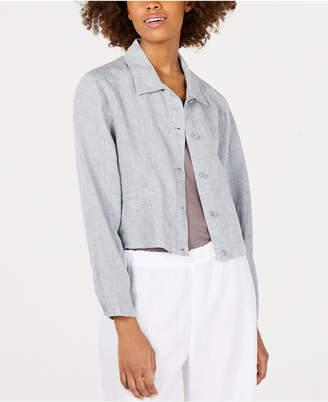 Eileen Fisher Organic Linen Classic-Collar Cropped Jacket, Regular & Petite