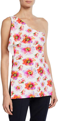 Chiara Boni Clarisse Printed One-Shoulder Sleeveless Top