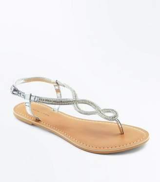 bd1536ed3 New Look Silver Leather Bead Embellished Sandals