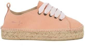 Manebi Hamptons Pink Suede And Jute Espadrilla Sneaker