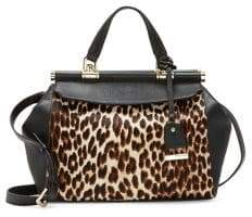 Vince Camuto Carla Printed Leopard Print Calf Hair and Leather Satchel