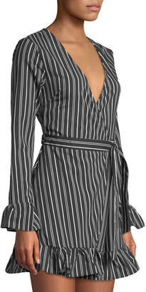 Allison New York Striped Long-Sleeve Ruffled Wrap Dress