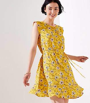LOFT Petite Garden Tie Waist Flounce Dress