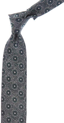 Canali Green Abstract Silk Tie
