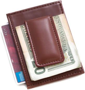 Bey-Berk Bey Berk Brown Leather Magnetic Money Clip & Wallet