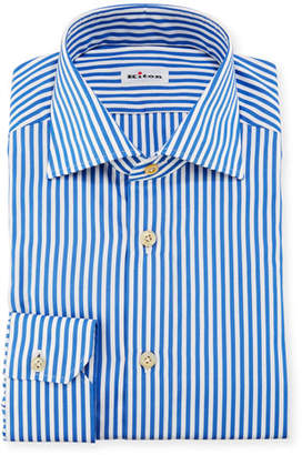 Kiton Bengal-Stripe Dress Shirt, Blue/White
