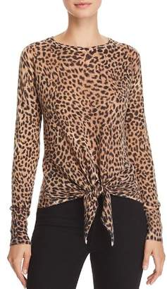 Olivaceous Leopard-Print Tie-Front Sweater