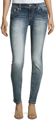 Miss Me Skinny Embroidered Denim Jeans, Medium Blue $79 thestylecure.com