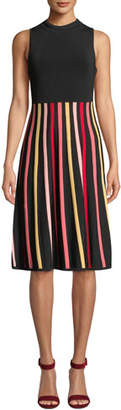 Shoshanna Kendall Sleeveless Crewneck Dress w/ Striped Skirt